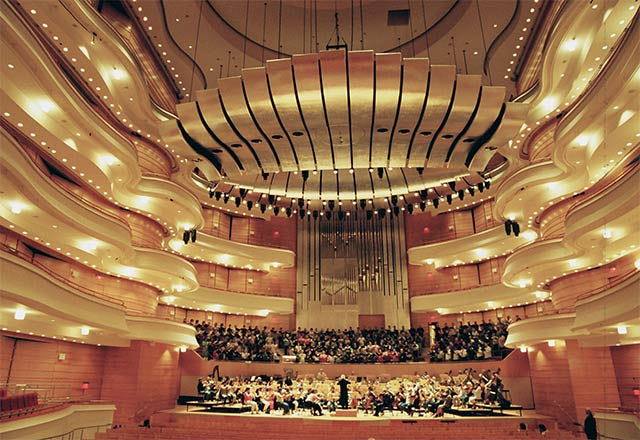 Concert Hall, Costa Mesa, CA- At over 8,000 square feet, the ribbons of the Acoustical Canopies were gilded in aluminum leaf.