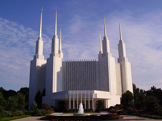LDS Church, Kensington, MD- In 2006, we blasted, primed and gilded the panels cladding the spires and re-gilded the sculpture of the Angel Moroni from a crane basket at over 250' in the air. A total of over 4,500 Sf of 23.75 KT gold leaf was applied.