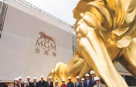 Golden lion statue at MGM Cotai