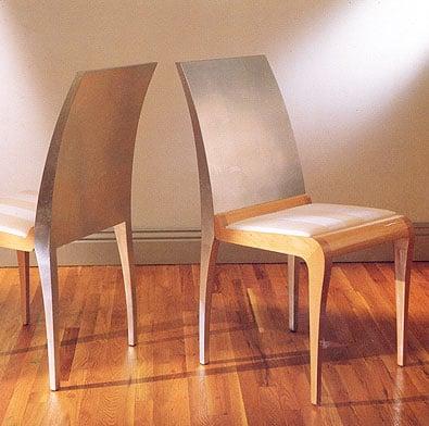 Aluminum Leafed Geoffrey Beene Chairs