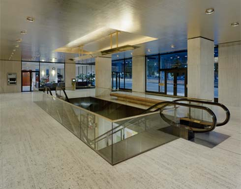 "Shell Plaza, Houston, Texas- Installed 14,000 sq.ft. of 22kt ""Moon Gold"" on lobby ceilings in both complexes."