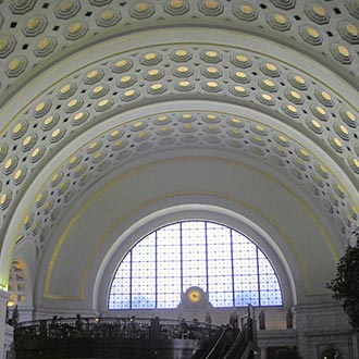 Union Station, Washington, DC – This multi phased project spanned 5 years and included investigation, preparation and installation of new 23KT gold leaf on the ceiling of the main hall, cross vaults and stenciled end walls. The completed project totaled over 8,000 square feet.