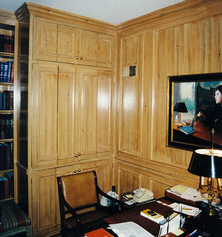 Private Residence, Washington, DC- Prepared, base-coated and grained the doors and paneling in this library to match knotty pine.
