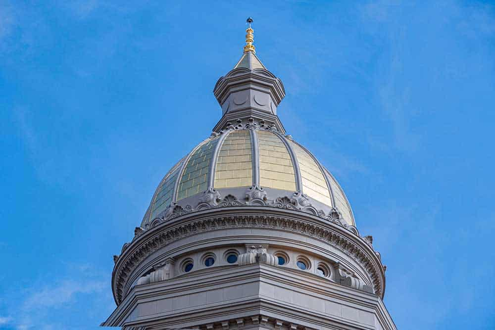 Among the restorations needed to the Capitol Building were major repairs to its exterior. As part of those repairs, a new copper dome was to be fabricated, installed and gilded. (Photo by: RACHEL GIRT)
