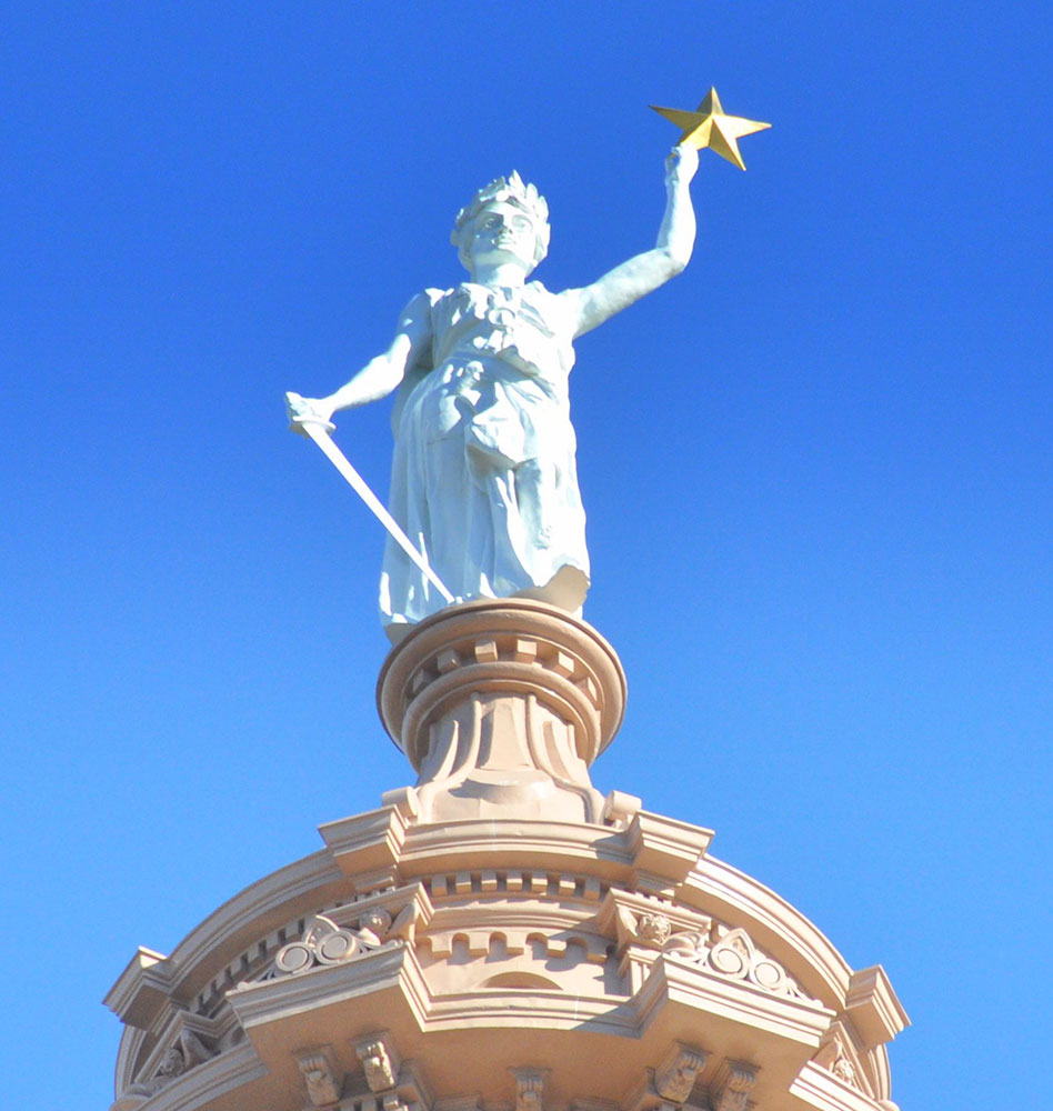 Texas Statehouse, Goddess of Liberty, Austin, TX - 23.75KT Golf Leaf