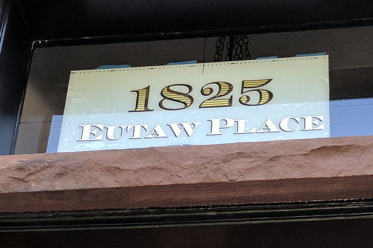 Gilded Glass Lettering at 1825 Eutaw Place