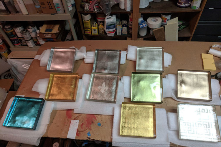 Gilded Glass Block Samples